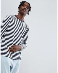 weißes und dunkelblaues horizontal gestreiftes Langarmshirt von Asos