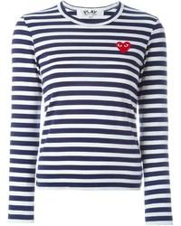 weißes und dunkelblaues horizontal gestreiftes Langarmshirt von Comme des Garcons