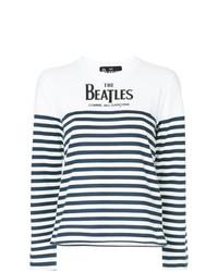 weißes und dunkelblaues horizontal gestreiftes Langarmshirt von Comme Des Garcons Play