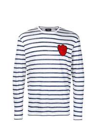 weißes und dunkelblaues horizontal gestreiftes Langarmshirt von DSQUARED2