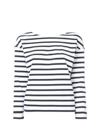 weißes und dunkelblaues horizontal gestreiftes Langarmshirt von Loveless