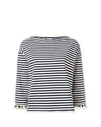 weißes und dunkelblaues horizontal gestreiftes Langarmshirt von Moncler
