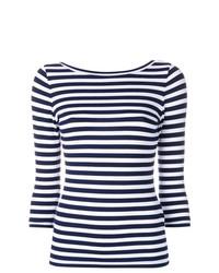 weißes und dunkelblaues horizontal gestreiftes Langarmshirt von Natasha Zinko