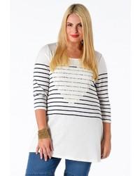 weißes und dunkelblaues horizontal gestreiftes Langarmshirt von Yoek