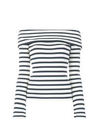 weißes und dunkelblaues horizontal gestreiftes schulterfreies Oberteil von P.A.R.O.S.H.