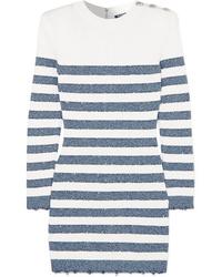weißes und dunkelblaues horizontal gestreiftes Sweatkleid von Balmain