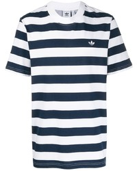 weißes und dunkelblaues horizontal gestreiftes T-Shirt mit einem Rundhalsausschnitt von adidas