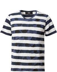 weißes und dunkelblaues horizontal gestreiftes T-Shirt mit einem Rundhalsausschnitt von Anrealage