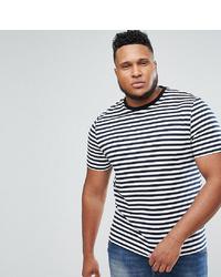 weißes und dunkelblaues horizontal gestreiftes T-Shirt mit einem Rundhalsausschnitt von ASOS DESIGN