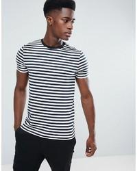 weißes und dunkelblaues horizontal gestreiftes T-Shirt mit einem Rundhalsausschnitt von Asos