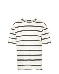 weißes und dunkelblaues horizontal gestreiftes T-Shirt mit einem Rundhalsausschnitt von Bassike