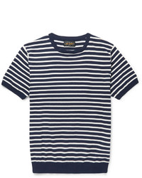 weißes und dunkelblaues horizontal gestreiftes T-Shirt mit einem Rundhalsausschnitt von Beams