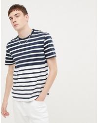 weißes und dunkelblaues horizontal gestreiftes T-Shirt mit einem Rundhalsausschnitt von Ben Sherman