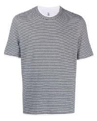 weißes und dunkelblaues horizontal gestreiftes T-Shirt mit einem Rundhalsausschnitt von Brunello Cucinelli