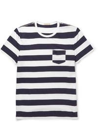 weißes und dunkelblaues horizontal gestreiftes T-Shirt mit einem Rundhalsausschnitt von Burberry