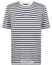 weißes und dunkelblaues horizontal gestreiftes T-Shirt mit einem Rundhalsausschnitt von C.P. Company