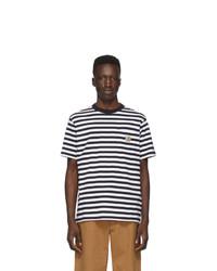 weißes und dunkelblaues horizontal gestreiftes T-Shirt mit einem Rundhalsausschnitt von CARHARTT WORK IN PROGRESS