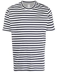 weißes und dunkelblaues horizontal gestreiftes T-Shirt mit einem Rundhalsausschnitt von Eleventy