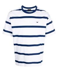 weißes und dunkelblaues horizontal gestreiftes T-Shirt mit einem Rundhalsausschnitt von Emporio Armani