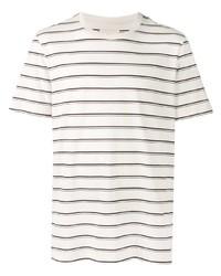 weißes und dunkelblaues horizontal gestreiftes T-Shirt mit einem Rundhalsausschnitt von Folk