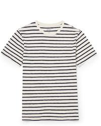 weißes und dunkelblaues horizontal gestreiftes T-Shirt mit einem Rundhalsausschnitt von J.Crew