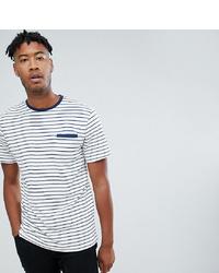 weißes und dunkelblaues horizontal gestreiftes T-Shirt mit einem Rundhalsausschnitt von Jacamo