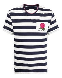 weißes und dunkelblaues horizontal gestreiftes T-Shirt mit einem Rundhalsausschnitt von Kent & Curwen