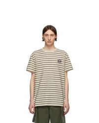 weißes und dunkelblaues horizontal gestreiftes T-Shirt mit einem Rundhalsausschnitt von Loewe