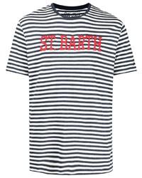 weißes und dunkelblaues horizontal gestreiftes T-Shirt mit einem Rundhalsausschnitt von MC2 Saint Barth