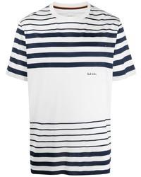 weißes und dunkelblaues horizontal gestreiftes T-Shirt mit einem Rundhalsausschnitt von Paul Smith