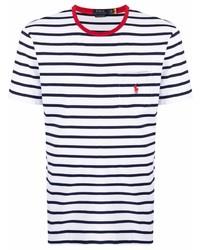 weißes und dunkelblaues horizontal gestreiftes T-Shirt mit einem Rundhalsausschnitt von Polo Ralph Lauren