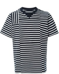 weißes und dunkelblaues horizontal gestreiftes T-Shirt mit einem Rundhalsausschnitt von Sacai