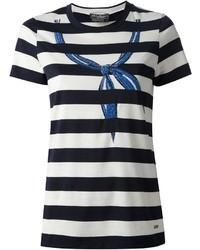 weißes und dunkelblaues horizontal gestreiftes T-Shirt mit einem Rundhalsausschnitt von Salvatore Ferragamo