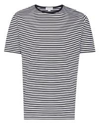 weißes und dunkelblaues horizontal gestreiftes T-Shirt mit einem Rundhalsausschnitt von Sunspel