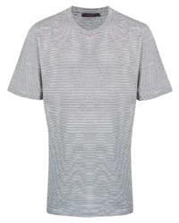 weißes und dunkelblaues horizontal gestreiftes T-Shirt mit einem Rundhalsausschnitt von The Gigi