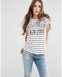 weißes und dunkelblaues horizontal gestreiftes T-Shirt mit einem Rundhalsausschnitt von Tommy Hilfiger
