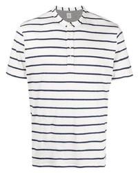 weißes und dunkelblaues horizontal gestreiftes T-shirt mit einer Knopfleiste von Eleventy