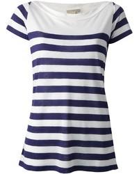 weißes und dunkelblaues horizontal gestreiftes T-Shirt mit Rundhalsausschnitt