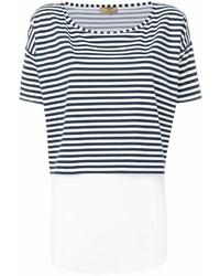 weißes und dunkelblaues horizontal gestreiftes T-Shirt mit einem Rundhalsausschnitt von Fay