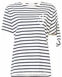 weißes und dunkelblaues horizontal gestreiftes T-Shirt mit einem Rundhalsausschnitt von J.W.Anderson