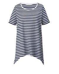 weißes und dunkelblaues horizontal gestreiftes T-Shirt mit einem Rundhalsausschnitt von Janet und Joyce by Happy Size