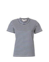 weißes und dunkelblaues horizontal gestreiftes T-Shirt mit einem Rundhalsausschnitt von Junya Watanabe