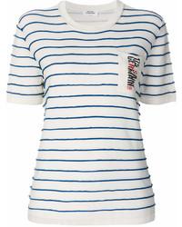 weißes und dunkelblaues horizontal gestreiftes T-Shirt mit einem Rundhalsausschnitt von Sonia Rykiel