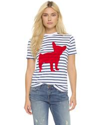 weißes und dunkelblaues horizontal gestreiftes T-Shirt mit einem Rundhalsausschnitt