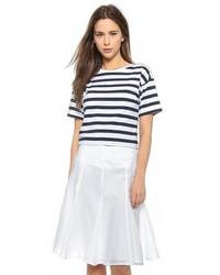 weißes und dunkelblaues horizontal gestreiftes T-Shirt mit einem Rundhalsausschnitt von Theory