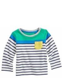 weißes und dunkelblaues horizontal gestreiftes T-shirt