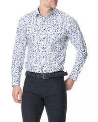 weißes und dunkelblaues Langarmhemd mit Blumenmuster