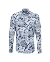 weißes und dunkelblaues Langarmhemd mit Blumenmuster von Jacques Britt