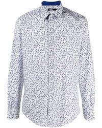 weißes und dunkelblaues Langarmhemd mit Blumenmuster von Karl Lagerfeld