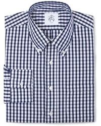 weißes und dunkelblaues Langarmhemd mit Karomuster